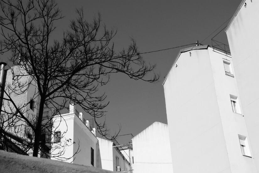 conjunto de bloques de viviendas en el barrio de tetuan en madrid